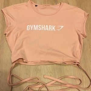 Gymshark ribbon crop top pink size small